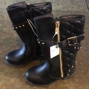 BNWT, black punk rock riding boots, size 7 toddler